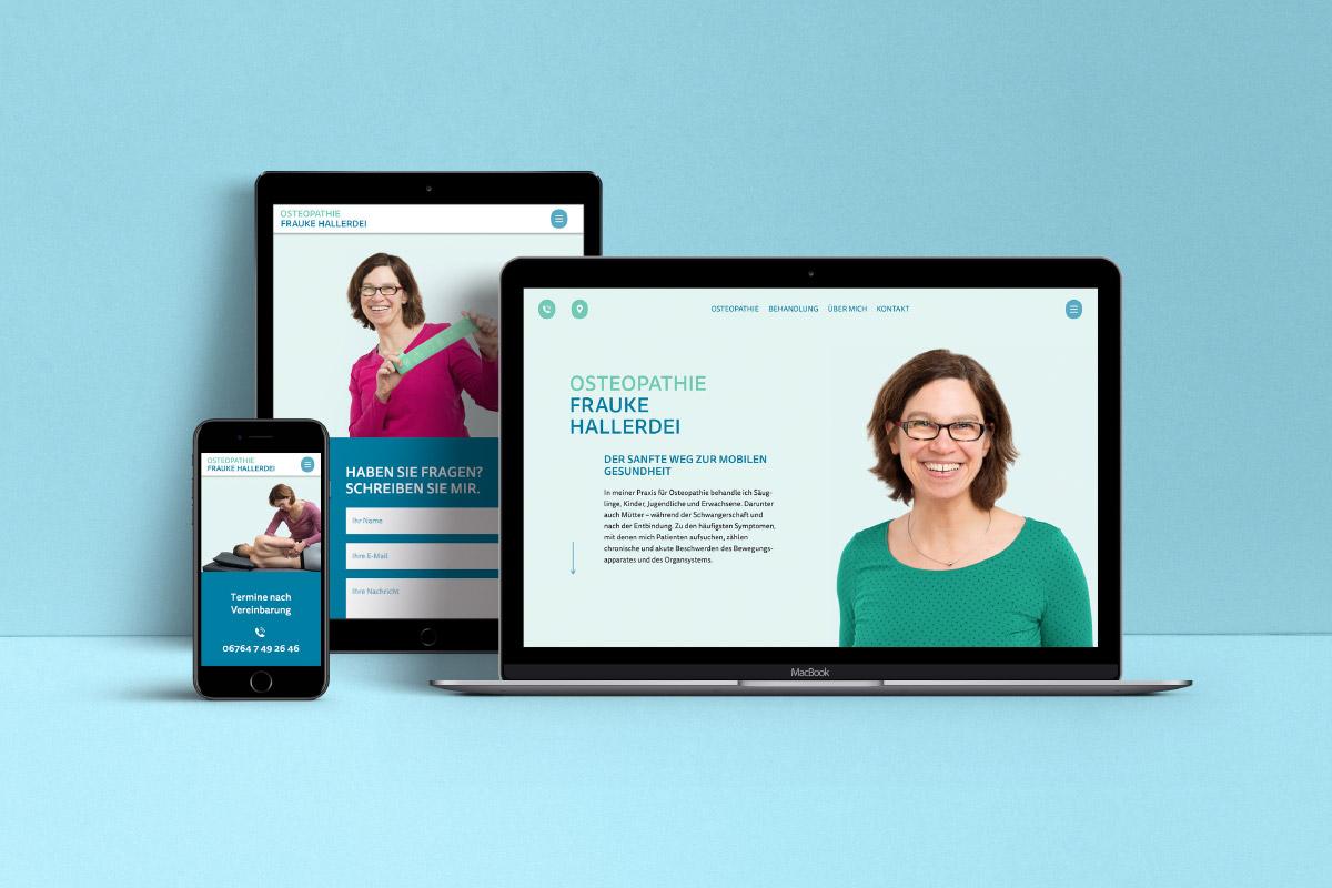Website Osteopathie Frauke Hallerdei