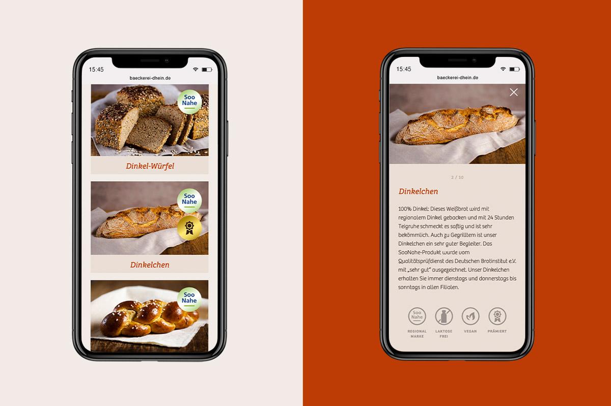 Mobile Website Bäckerei Dhein