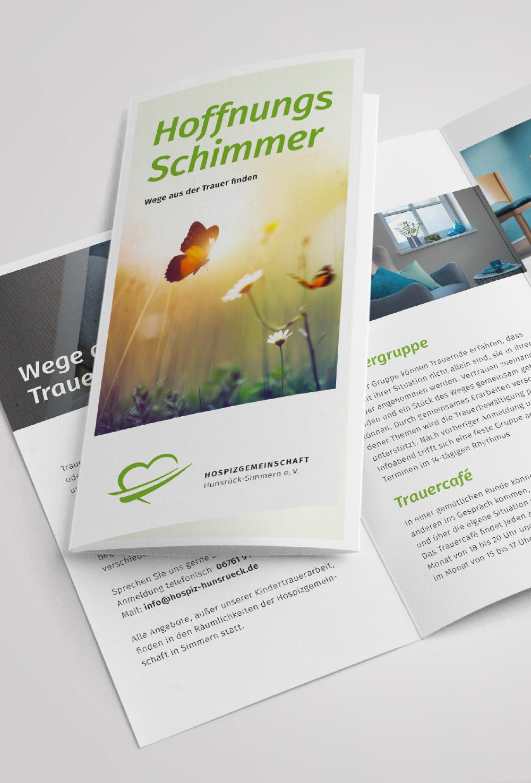 6-seitiger Folder für Trauerbegleitung Hospizgemeinschaft Hunsrück-Simmern