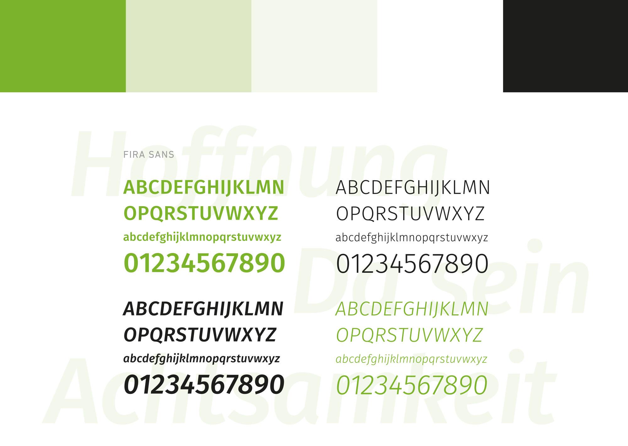 Typografie- und Farbkonzept Hospizgemeinschaft Hunsrück-Simmern